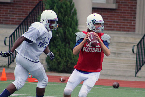 IN THE SLOT: Upper Canada College quarterback Aidan Power pulls back in the slot looking down field for an open receiver. The Blues first game of the season is Sept. 20.