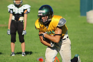 NO LOAFING THE BALL: Leaside running back Connor Pires runs through drills during Leaside's practice in early September.