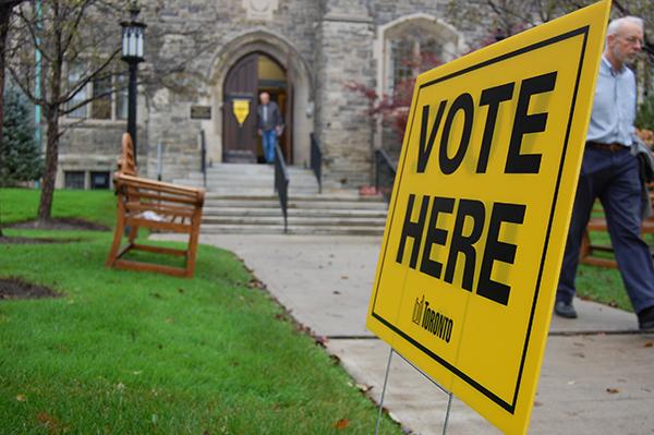 Voters leave Timothy Eaton Memorial Church