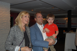 Christin Carmichael Greb watches results with family