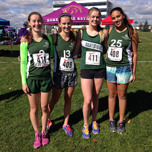 STRONT QUARTET: Grade 11s Kate Macmillan, left, Mary Jane Hill-Strathy, Maggie Keyworth and Yasmine Elkhouly look to boost Branksome Hall's profile at CISAA and OFSAA in cross country.