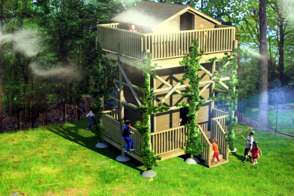 Rendering of playhouse at 5 Forest Wood.