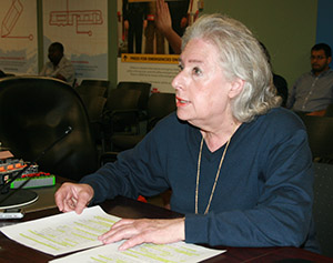 MIND THE GAP: Carol Burtin Fripp speaks to the TTC Committee on June 22 about the service gap on Bayview Avenue, between Davisville Avenue and Sutherland Drive.