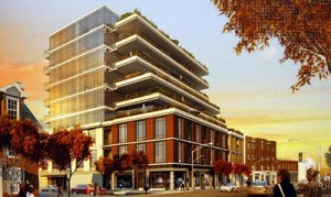 Artist's rendering of the nine-storey building proposed for Forest Hill Village.