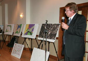 THE PLANS SO FAR: Architect Andrew Bigauskas shows plans for the eight-storey building proposed for Southvale Drive.