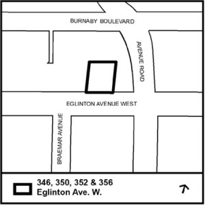 PROPOSED SITE: Map by city staff shows location of proposed town on Eglinton  Avenue West.