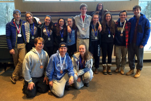 THE GANG'S ALL HERE: Members of Lawrence Park CI's contingent to OFSAA gather with their medals in the library. The Panthers won five medals, including a gold by Lachlan Carmichael, three silvers and one bronze.