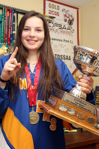 FUTURE STAR: Grade 10 Quinn Johnston, one of Lawrence Park's alternate captains, will be back for a second run at OFSAA gold. Her team won top spot in girls AAA hockey, March 9 in Stratford.