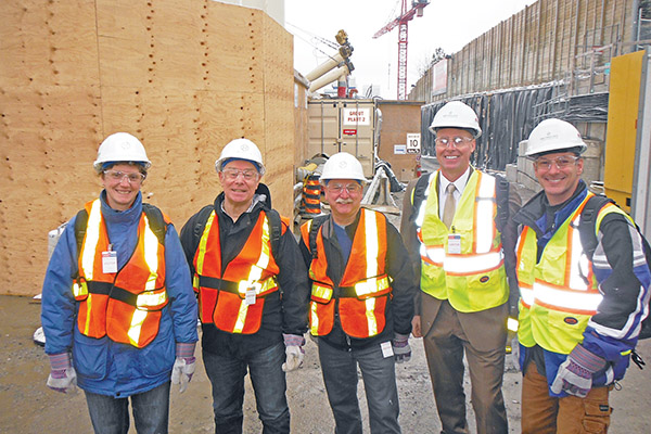 CHECKING OUT THE BORING TUNNELS: Going on the tour of progress below Eglinton were, from left, Erica Cooke of the South Leaoide traffic committee, Geoff Kettel of the LPOA, Andy Gort of SERRA, Councillor Jon Burnside, and John Gaitanakis of the North Leaside Traffic Committee.