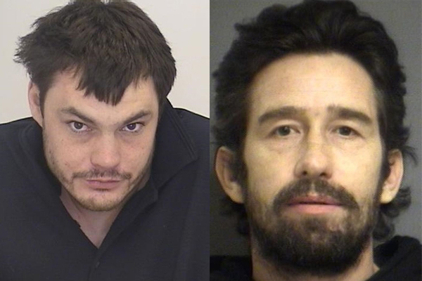 WANTED: Police are looking for 38-year-old Brian Eric Rutherford, left, and Chance Jeanson, 43, in connection with several break-ins to synagogues and commercial properties.