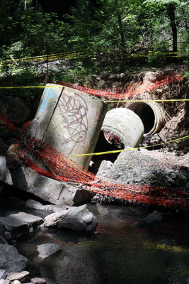 A storm pipe fallen apart in the Yellow Creek basin due to the erosive effects of storm surges.