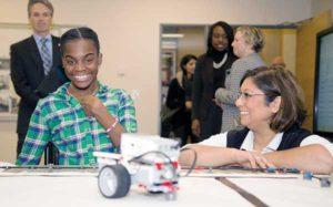 student Tamera Stanley and robotics coordinator Lynn Rampertab