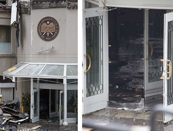 Entrance destroyed by racquet club fire.