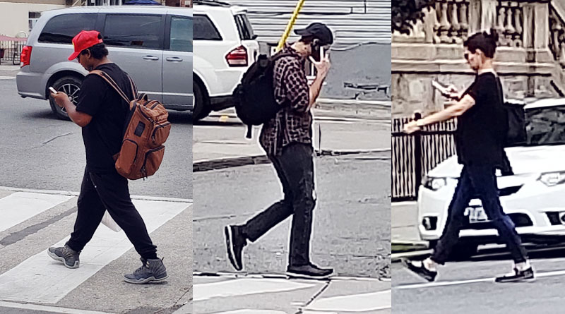 Pedestrians using phones crossing the street