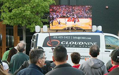 Watching Raptors game on large-screen TV