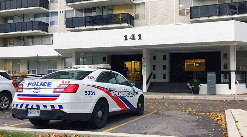 Police car sits outside Davisville apartment