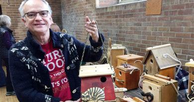 Birdhouse designer at arts and crafts show