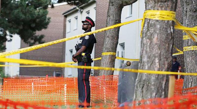 Officer guards crime scdene