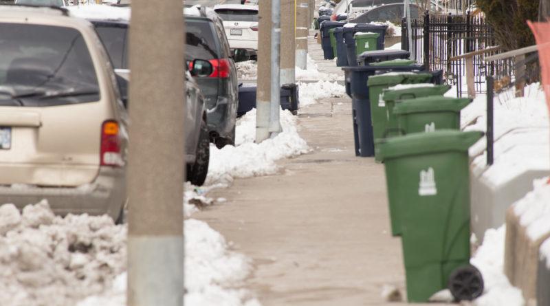 bins lined up before garbage strike