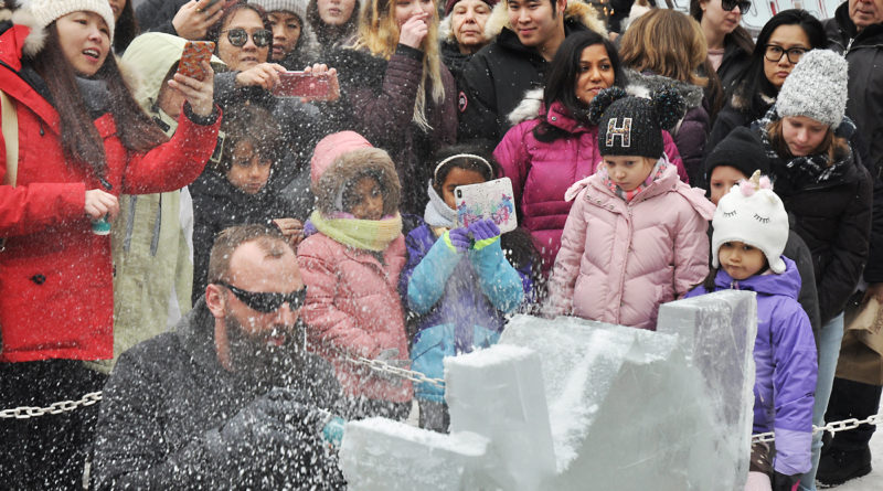 ice carving at Bloor-Yorkville Icefest