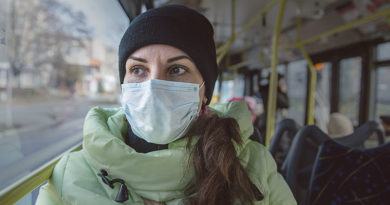 Medical mask on bus