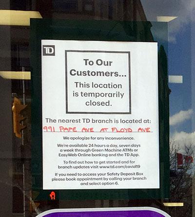 notice on door re bank holdup