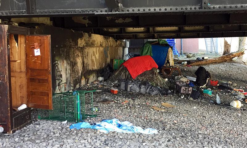 Homeless camp under Sherbourne bridge