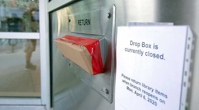 Drop box at Toronto Reference Library as libraries prepare to reopen