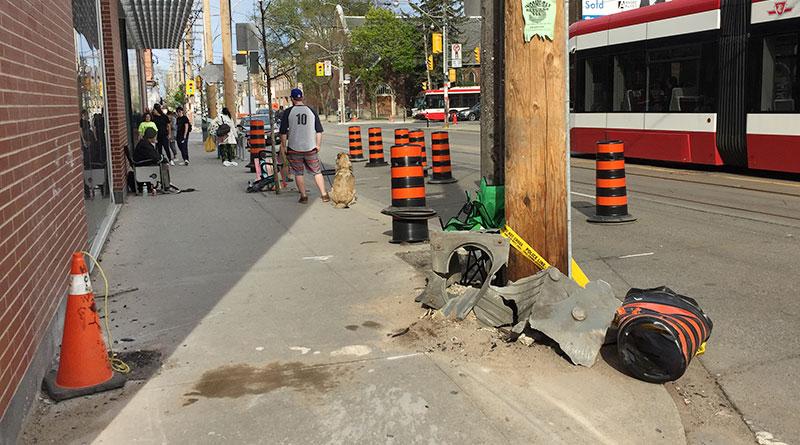 Aftermath of sidewalk crash