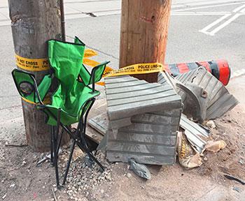 Debris from sidewalk crash