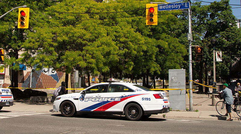 Police cars where man stabbed