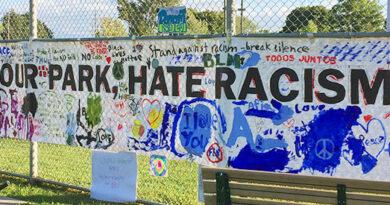 Dentonia Park anti-racism banner
