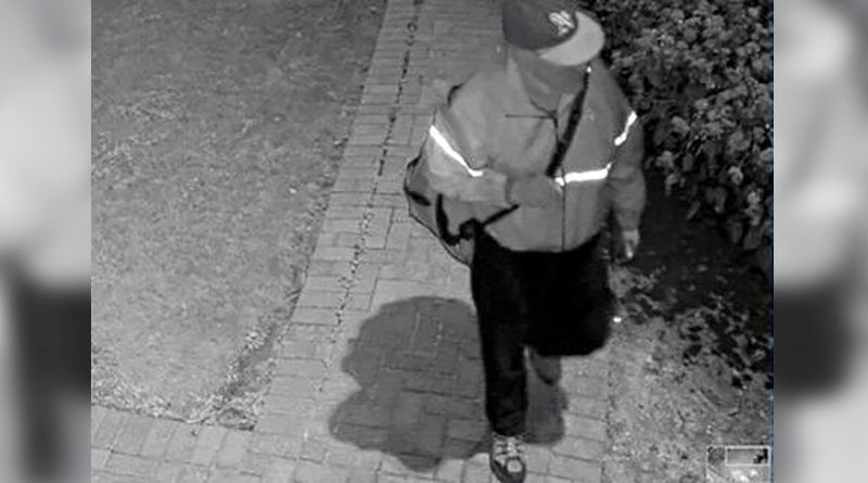 police image of suspect in vandalism to statue