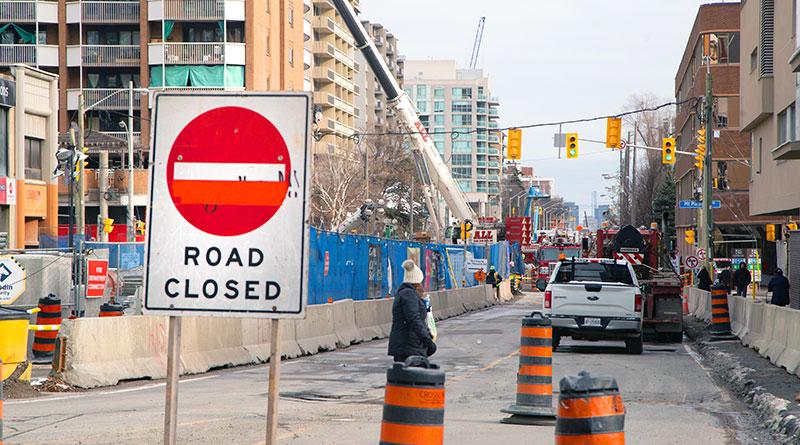 Road closed for fallen crane