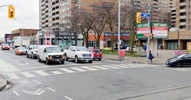 Intersection where dump truck struck woman