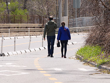 Couple on one of closed roads