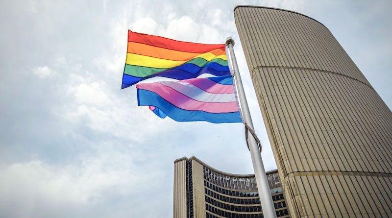 Pride flags at city hall
