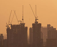 Sunset over highrise construction